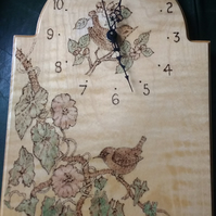 Wall clock, pyrography design, birds and flowers