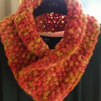 Chunky knitted cowl scarf orange yellow
