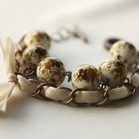 Beige Japanese Flowers and Ivory Ribbon Bracelet