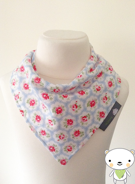 Baby Bandana Dribble Bib with CATH KIDSTON'S Provence ROSE Blue Floral Fabric