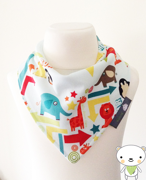 Handmade Quality Baby Boys Bandana Dribble Bib with CUTE JUNGLE ANIMALS Fabric