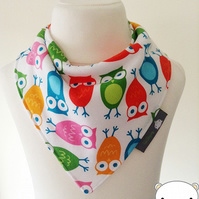 Handmade Baby Bandana Dribble Bib Robert Kaufman URBAN OWLS Fabric IDEAL GIFT