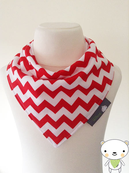 Handmade Baby Bandana Dribble Bib Riley Blake RED & WHITE CHEVRONS Ideal Gift