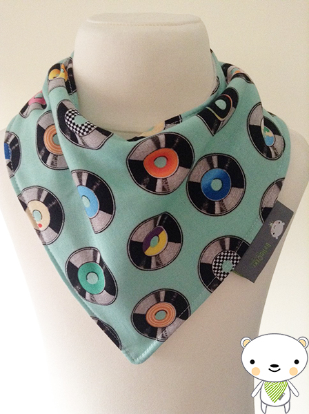 Handmade Baby Bandana Dribble Bib In GEEKLY CHIC Retro LP Records Fabric GIFT
