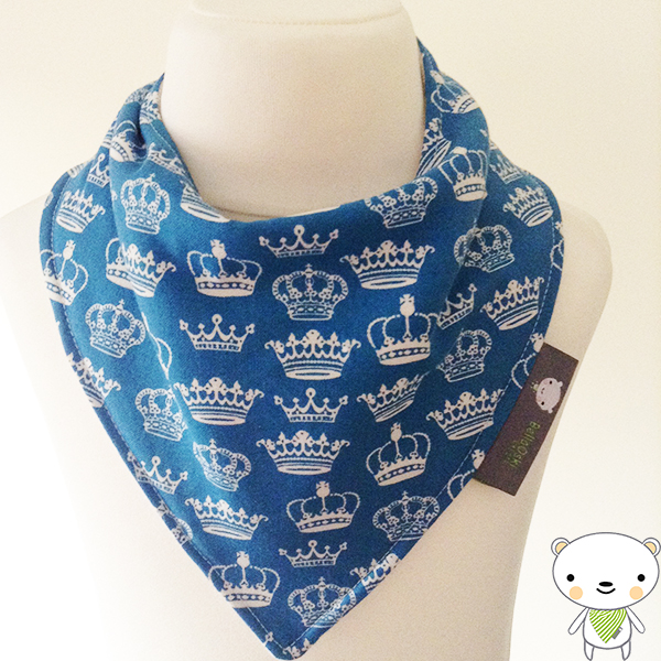 Handmade Baby Bandana Dribble Bib BLUE CROWNS fabric Perfect Gift 4 your Prince