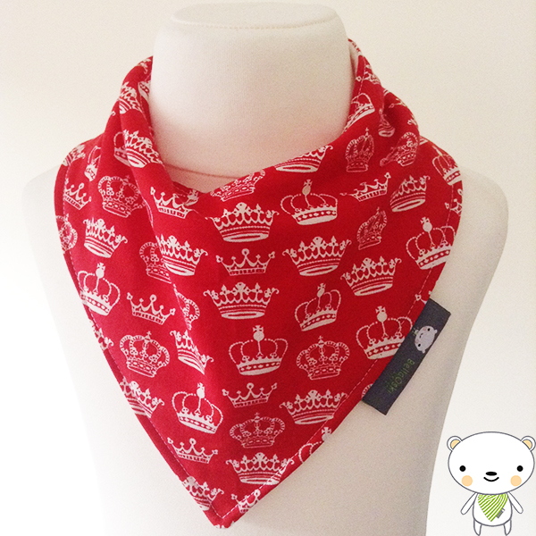 Baby Bandana Dribble Bib in RED CROWNS fabric Perfect Gift for your Princess
