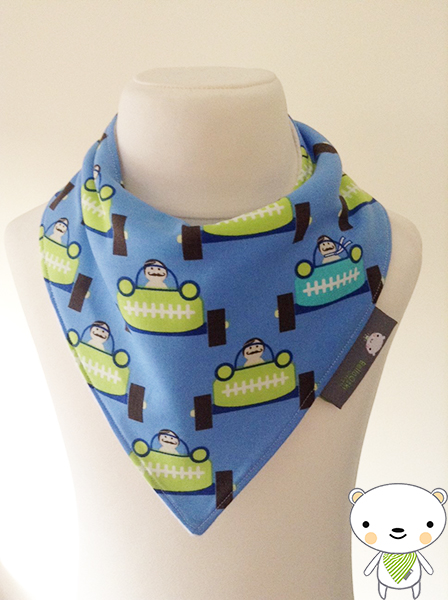 Handmade Baby Bandana Dribble Bib In Blue RACING RACE CAR Fabric IDEAL GIFT