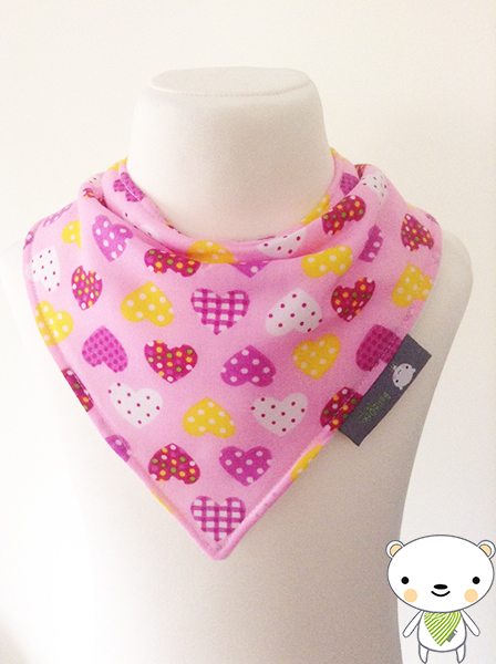 HANDMADE Baby Bandana Dribble Bib Polka Dot & Gingham Hearts Fabric GIFT IDEA