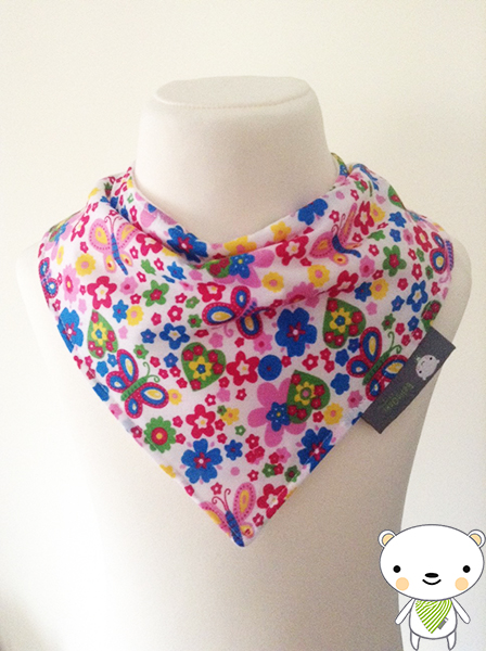 HANDMADE Baby Girls Bandana Dribble Bib Flowers & Butterflies Fabric GIFT IDEA