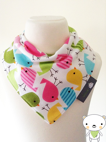 Handmade Baby Bandana Dribble Bib in SWEET BIRDIES BIRDS Fabric IDEAL GIFT