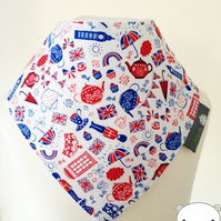 Baby Bandana Dribble Bib in TIMELESS TREASURES London British Icons Fabric