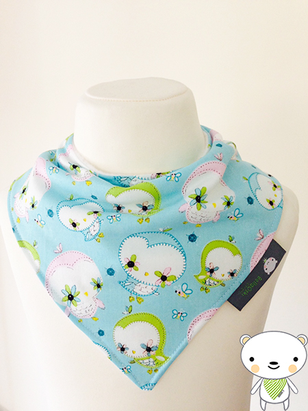 BELLAOSKI Baby Bandana Dribble Bib Camelot PRETTY BLUE OWLS Fabric GIFT IDEA