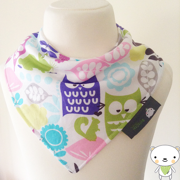 BellaOski BANDANA DRIBBLE BIB FOREST LIFE OWLS ORCHID Micheal Miller BABY GIFT