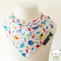 BellaOski HANDMADE BANDANA DRIBBLE BIB BIRDS & FEATHERS Fabric BABY GIFT IDEA