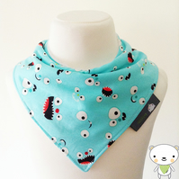 BellaOski BANDANA DRIBBLE BIB MONSTER FACES Camelot Cotton Fabric BABY GIFT IDEA