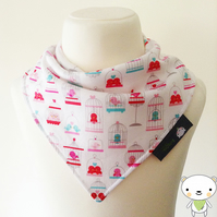 BellaOski BANDANA DRIBBLE BIB LOVEY MAIN Birdcages Riley Blake Fabric BABY GIFT