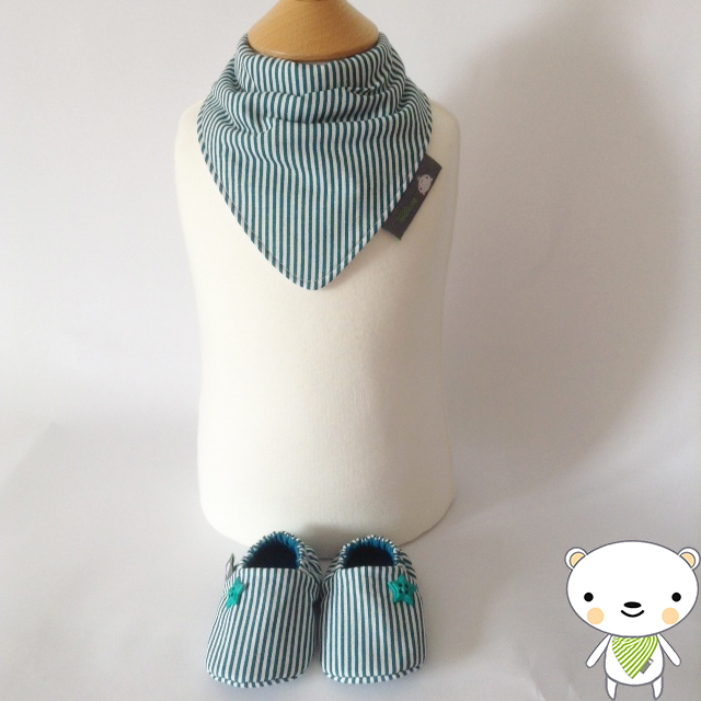 BELLAOSKI Teal CANDY STRIPE Bandana Bib & Shoes NEWBORN BABY GIFT SET 0-3m