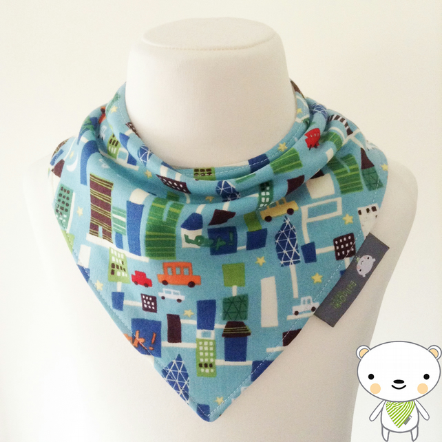 Handmade Baby Bandana Dribble Bib In BLUE CARS Fabric By MICHAEL MILLER