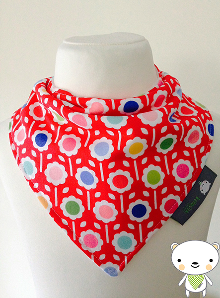 "Baby Bandana Dribble Bib in ""Pam Kitty Happy Dot"" Multi Coloured Flowers Fabric"