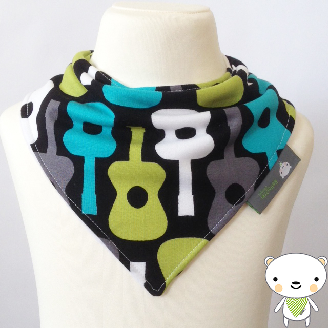 Handmade Baby Bandana Dribble Bib In GROOVY GUITAR Fabric By MICHAEL MILLER GIFT