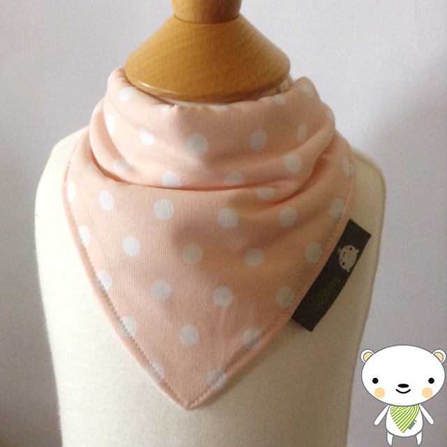 NEWBORN Girls Bandana Dribble Bib in TILDA'S Peach Spot Fabric BABY GIFT IDEA