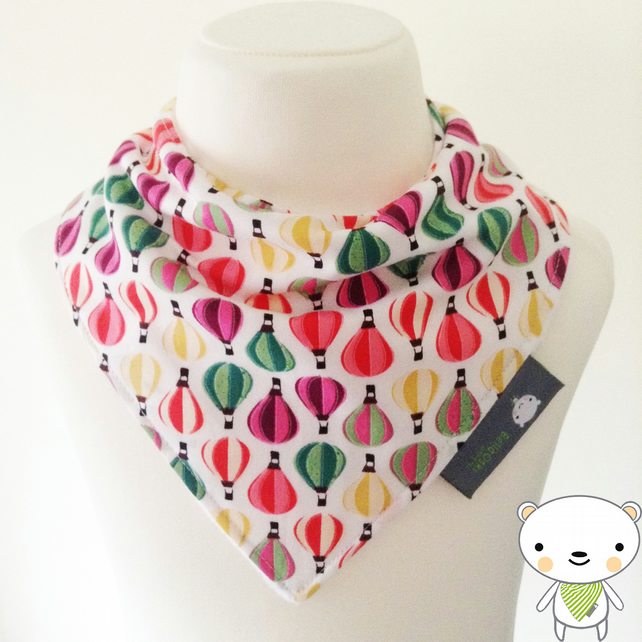 BellaOski BANDANA DRIBBLE BIB Multi HOT AIR BALLOONS Fabric BABY GIFT IDEA