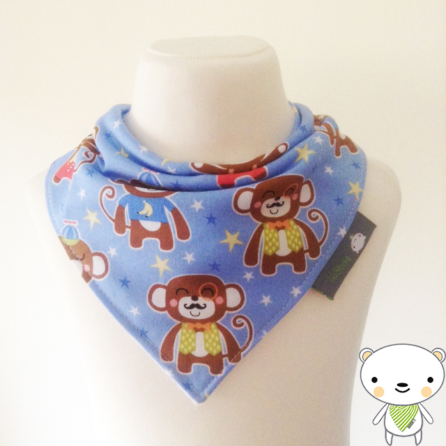 BellaOski BANDANA DRIBBLE BIB Michael Miller CHIMP DADDY SKY Baby GIFT IDEA