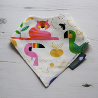 Bandana Dribble Bib Handmade Alexander Henry Zoo Girls Fabric NEW BABY GIFT IDEA