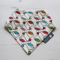 Bandana Dribble Bib Handmade Timeless Cream Birds Fabric NEW BABY GIFT IDEA