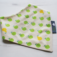 Bandana Dribble Bib Handmade Sevenberry Green Apples Fabric NEW BABY GIFT IDEA