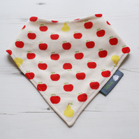 Bandana Dribble Bib Handmade Sevenberry Red Apples Fabric NEW BABY GIFT IDEA