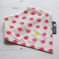 Bandana Dribble Bib Handmade Sevenberry Pink Apples Fabric NEW BABY GIFT IDEA