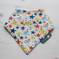 Bandana Dribble Bib Handmade Makower Monster Stars Fabric NEW BABY GIFT IDEA