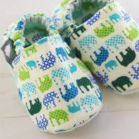 BELLAOSKI Blue & Green MINI ELEPHANTS Slipper Pram Shoes BABY GIFT IDEA 0-24M