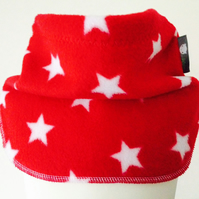 Handmade RED STARS Fleece UNISEX NECK WARMER DUDE SNOOD Kids SCARF