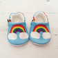 ORGANIC RAINBOWS ON BLUE Slippers Pram Shoes NEW BABY GIFT IDEA 0-18M