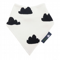 ORGANIC Baby Bandana Dribble Bib in BLACK CLOUDS - A GIFT IDEA from BellaOski