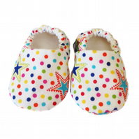 BELLAOSKI Handmade DOTTY STARS Slipper Pram Shoes BABY GIFT IDEA 0-24M