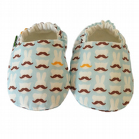 BELLAOSKI MOUSTACHED BEARS & BUNNIES Slipper Pram Shoes BABY GIFT IDEA 0-24M