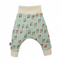 ORGANIC Baby HAREM PANTS Relaxed RAINBOW OF ARROWS Trousers - A GIFT IDEA