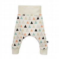 ORGANIC Baby HAREM PANTS Relaxed PRISM TRIANGLES Trousers Size 12-18 Months ONLY
