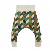 ORGANIC Baby HAREM PANTS OFFSET CHEVRONS Relaxed Trousers GIFT IDEA by BellaOski