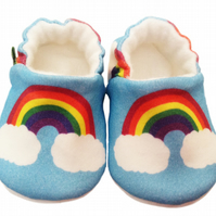 BABY PRAM SHOES Organic RAINBOWS ON BLUE Soft soled Kids Slippers GIFT IDEA 0-9Y