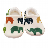 ORGANIC Birch ELEPHANT MULTI Kids Slippers Pram Shoes NEW BABY GIFT IDEA 0-9Y
