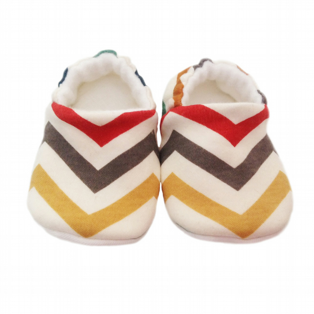 ORGANIC Birch SKINNY CHEVRONS MULTI Slippers Pram Shoes NEW BABY GIFT IDEA 0-24M