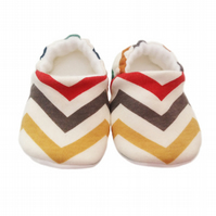 ORGANIC Birch SKINNY CHEVRONS MULTI Kids Slippers Pram Shoes BABY GIFT IDEA 0-9Y