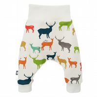 Baby Trousers, harem pants, organic relaxed trousers, Multi Elks bottoms
