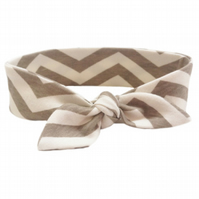 ORGANIC Baby Knotted Headband in CHEVRONS SHROOM An ECO GIFT IDEA from BellaOski