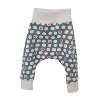 ORGANIC Baby HAREM PANTS Relaxed Monaluna FLOWER DOTS Trousers Size 0-3m ONLY