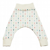 ORGANIC Baby HAREM PANTS Relaxed MULTI ARROWS on CREAM Trousers - A GIFT IDEA